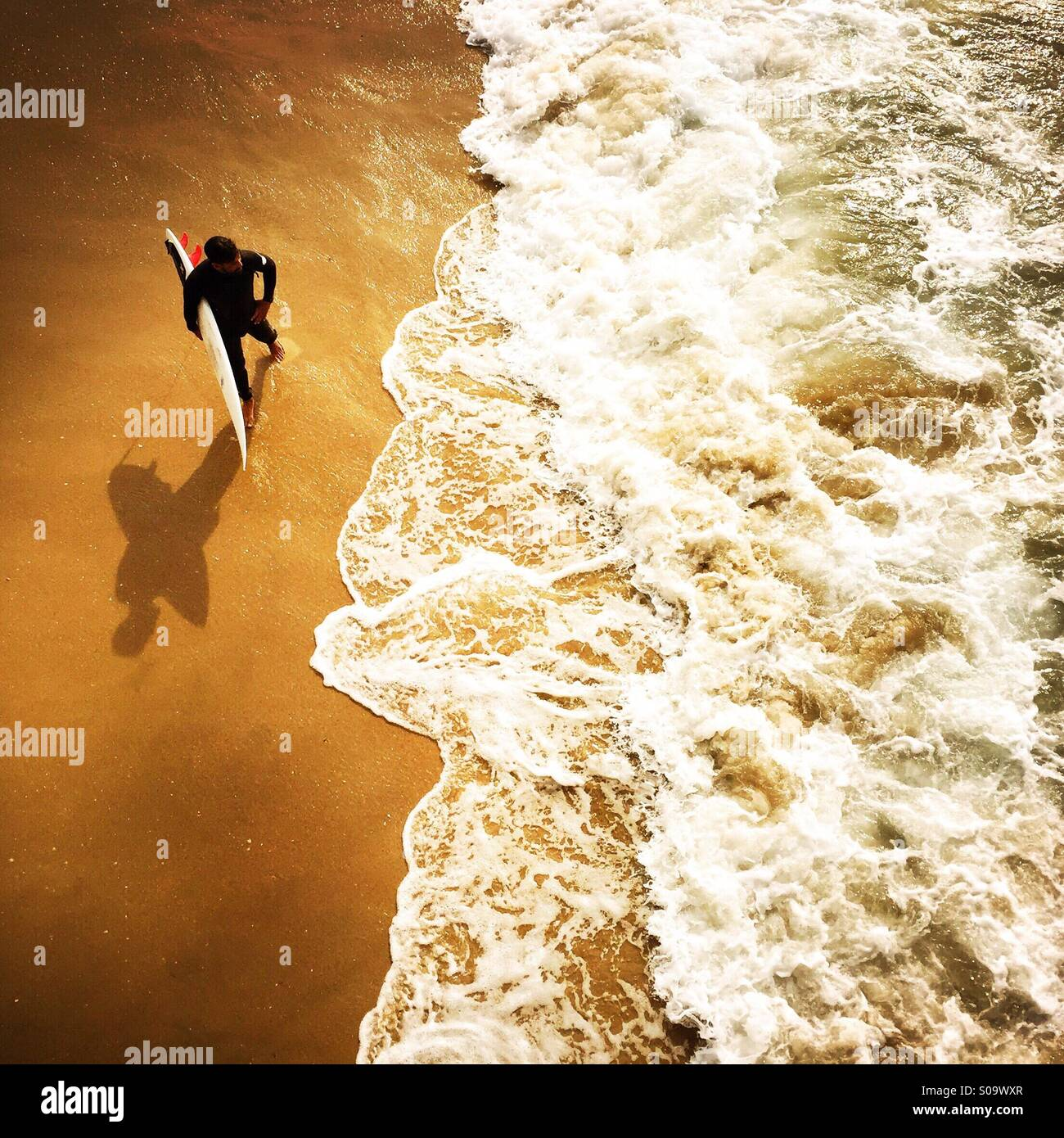 A surfer waits at the shoreline to surf. Manhattan Beach, California USA. Stock Photo