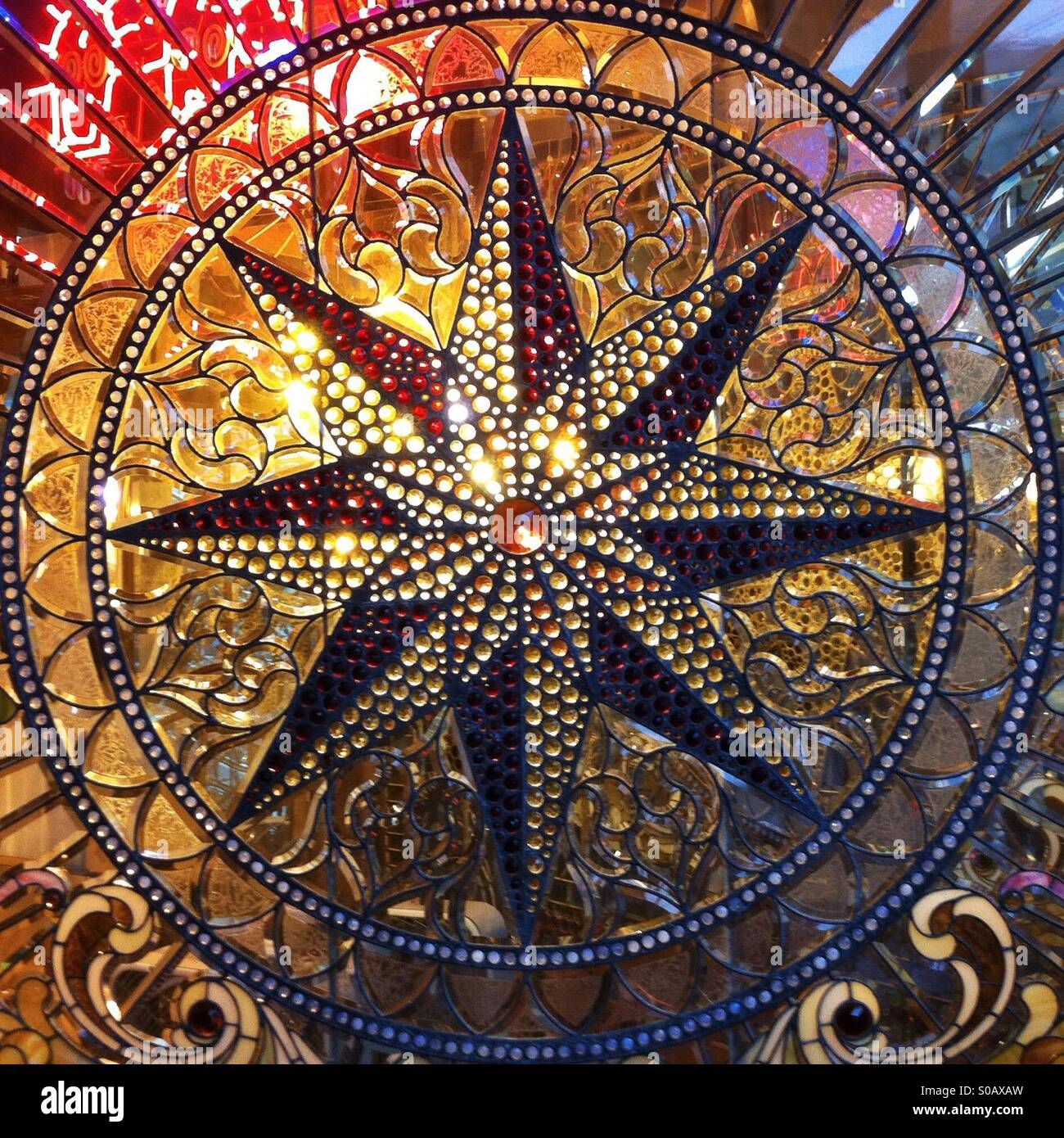Glass Compass Rose Patterns : Stained glass compass rose in round cartouche stock photo