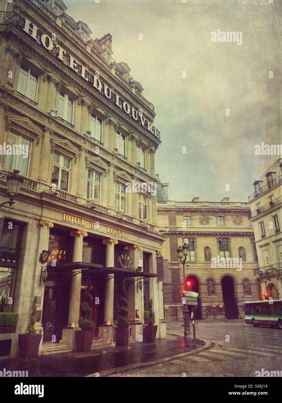View of Hotel du Louvre, a Hyatt 5 star hotel located in the historic centre of Paris, France. Antique, retro look Stock Photo