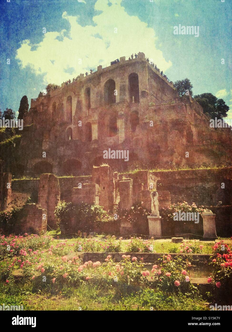 View of ancient Roman ruins and rose garden within the Foro Romano World Heritage Site in Rome, Italy. Vintage paper Stock Photo