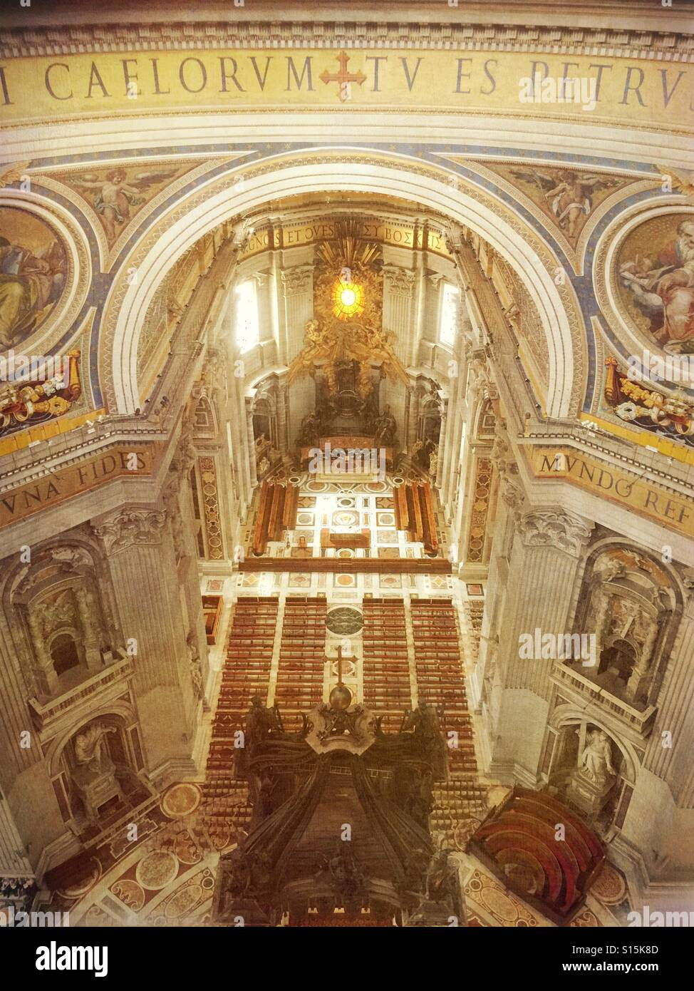 Vatican City - Interior area of St Peter's Basilica as seen from view deck inside cupola. Stock Photo