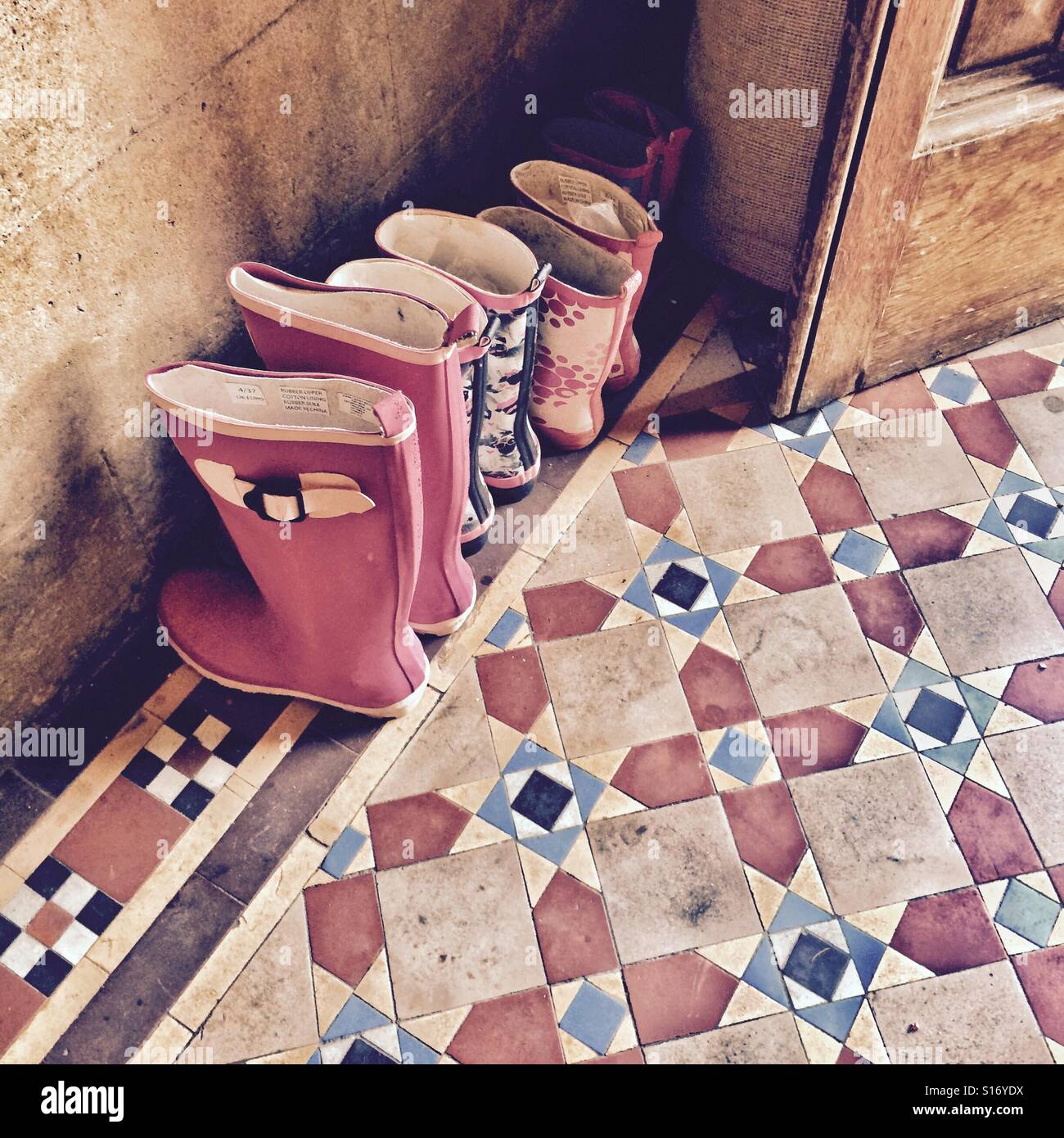 A family of Wellington boots lined up at the door Stock Foto