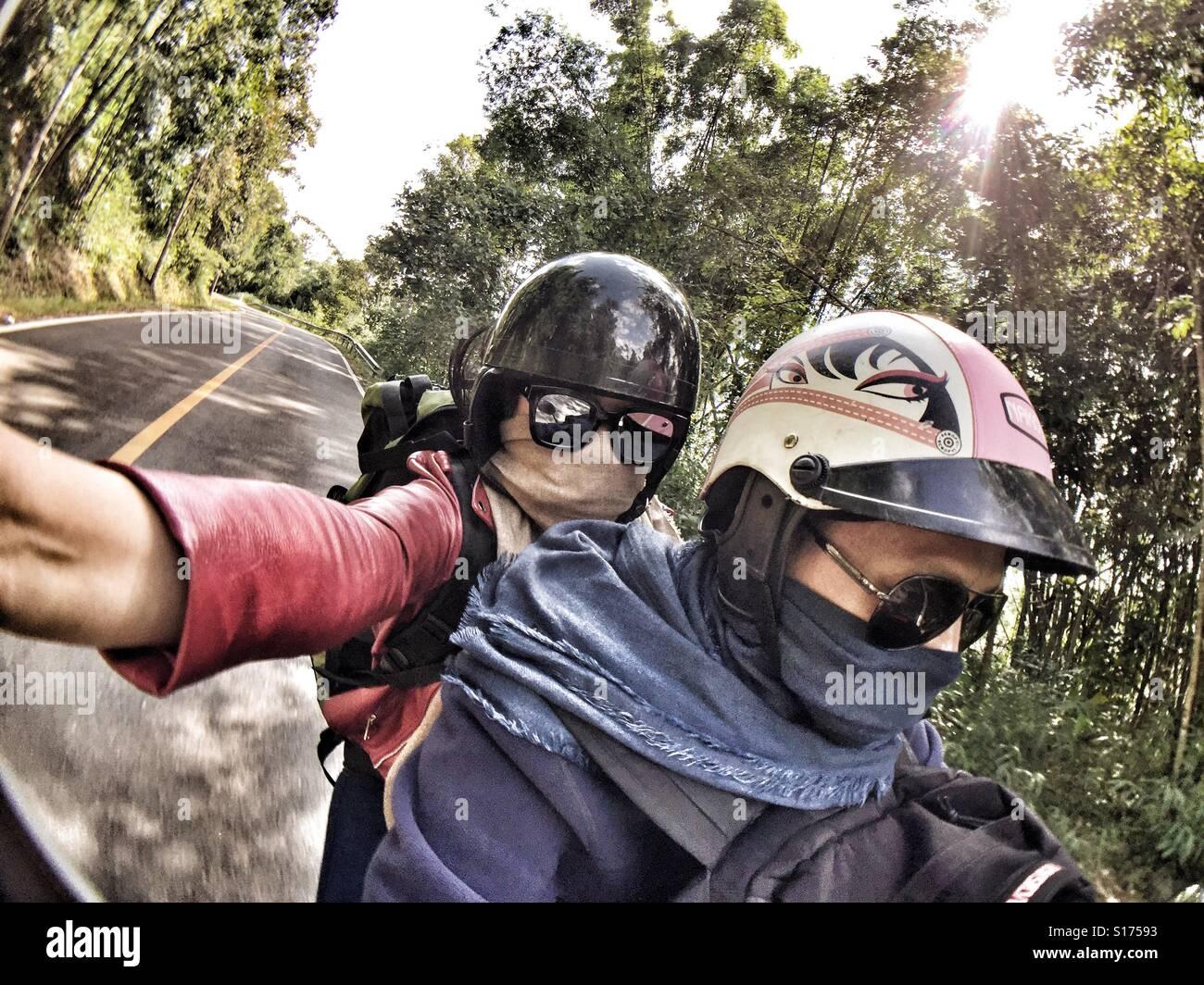 Traveller selfie on motorcycle Stock Foto