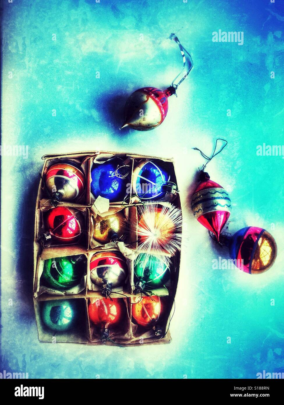 Vintage Christmas tree baubles seen from above. Stock Photo