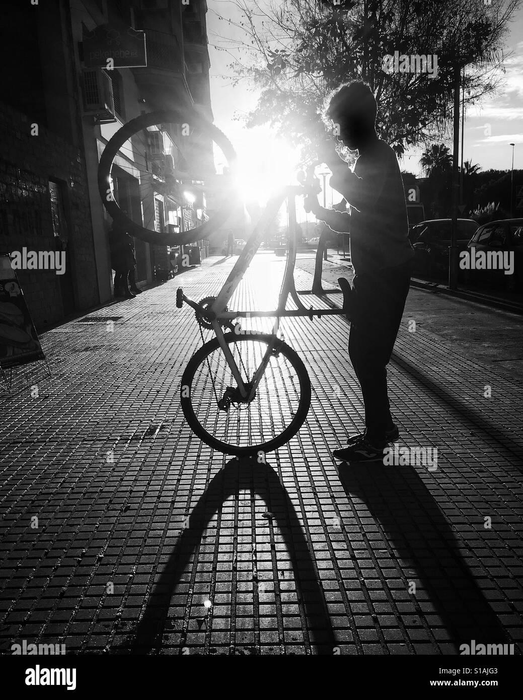 Street biker in Jerez de la Frontera. Stock Foto