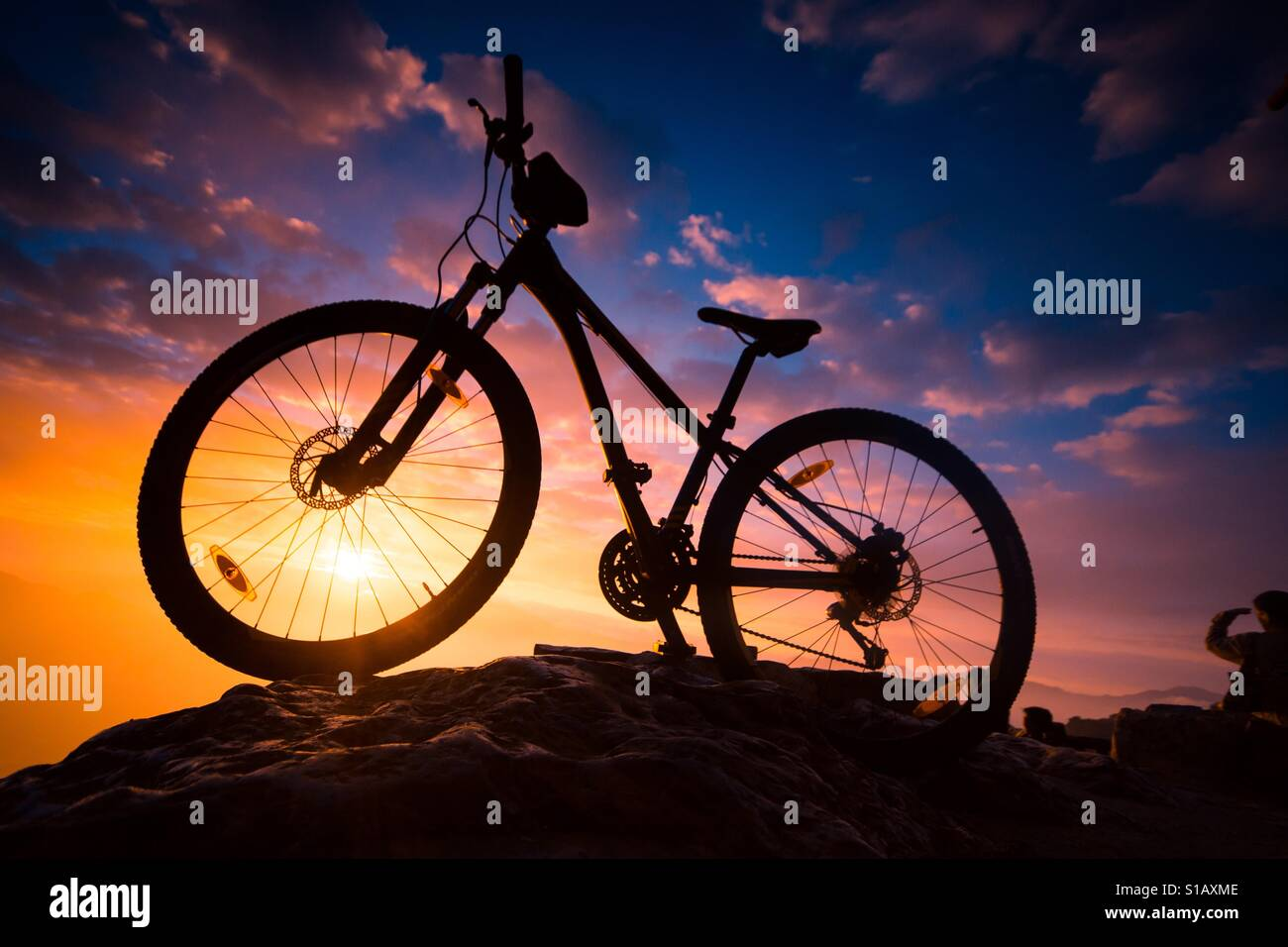 Bicycle at sunrise Stock Foto