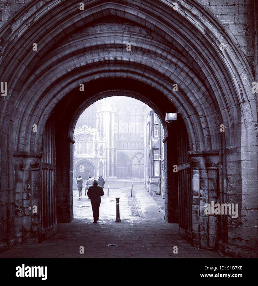 Gateway through to Peterborough Cathedral, Cambridgeshire. Stock Foto