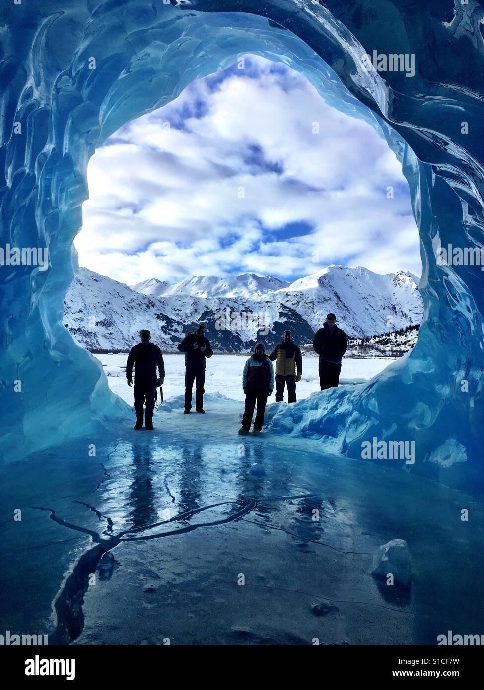Exploring at Spencer Glacier. Stock Foto