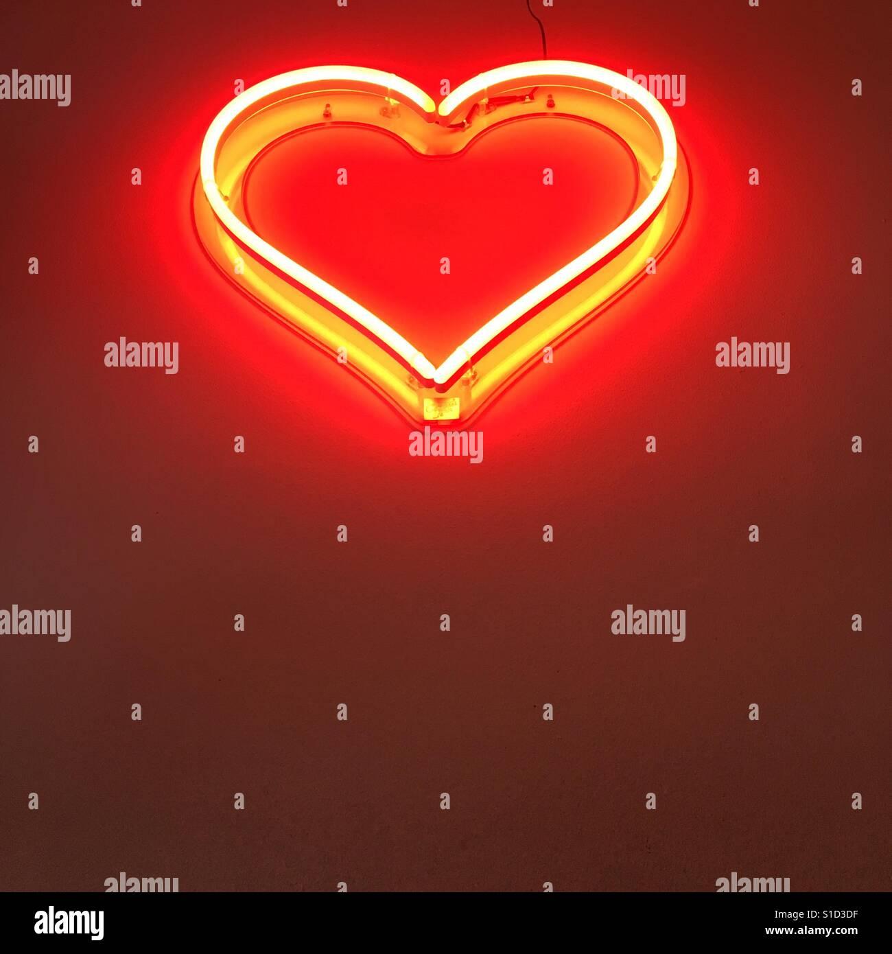 Neon heart. Stock Foto