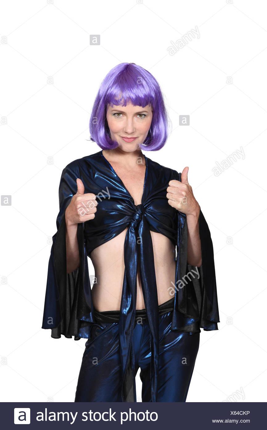 woman, female, black, swarthy, jetblack, deep black, purple