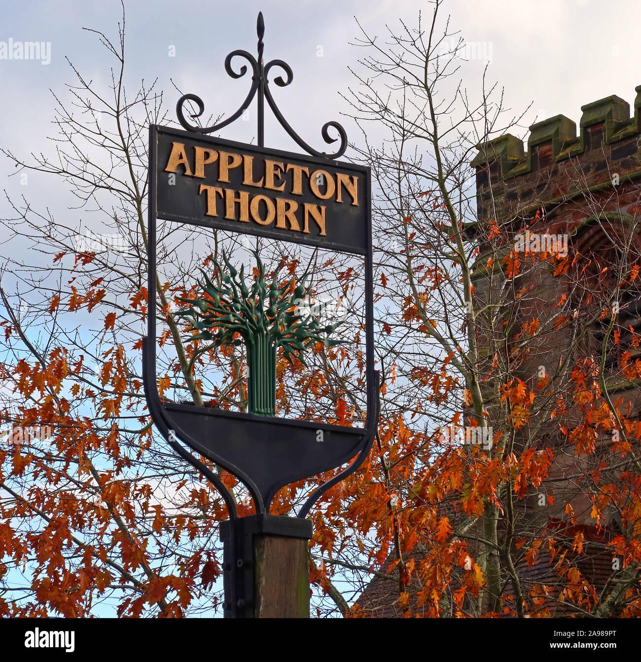 Dieses Stockfoto: Appleton Thorn Ortsschild, grappenhall Lane, South Warrington, Cheshire, England, UK WA4 4QX - 2A989P