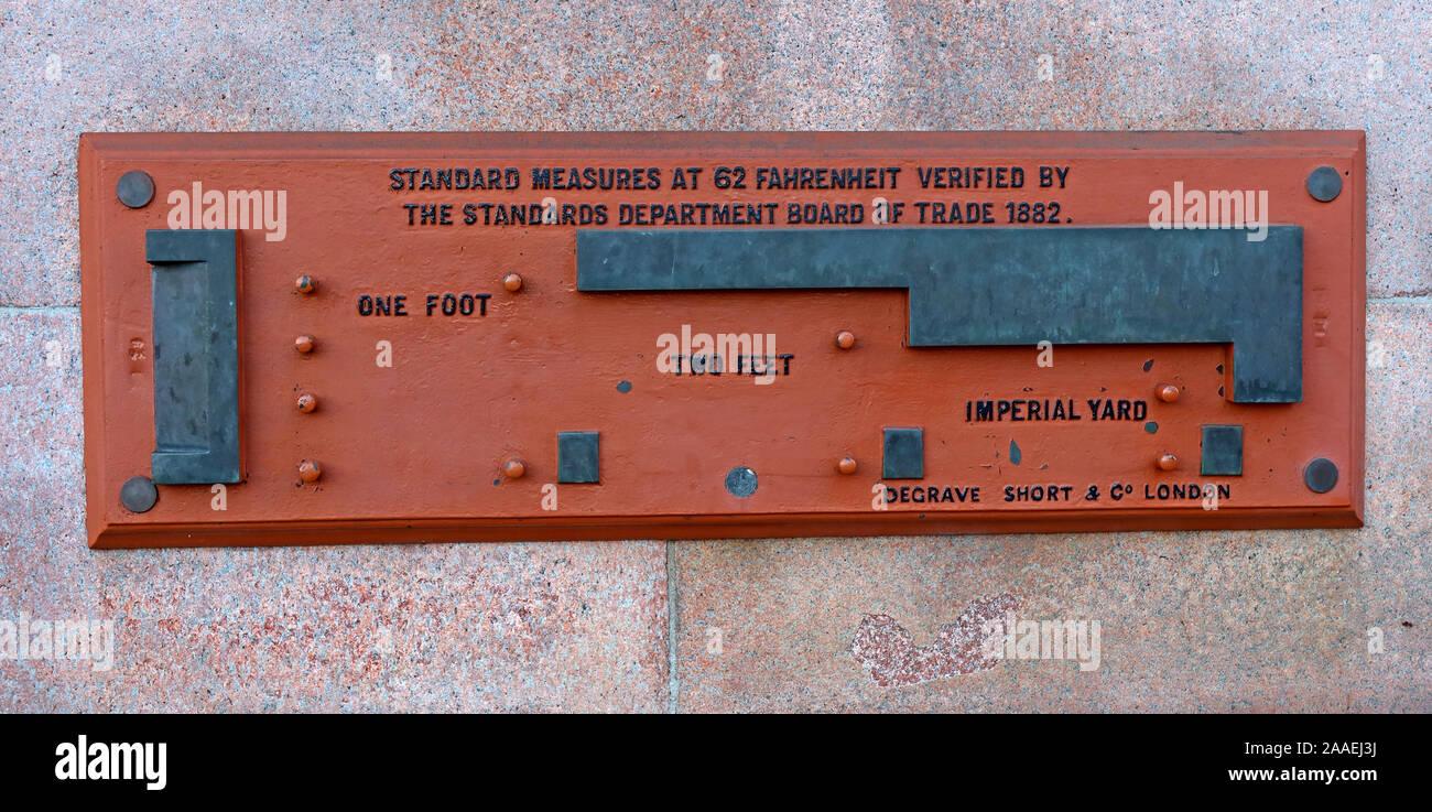 Dieses Stockfoto: Standards des Kaiserlichen lineare Maßnahmen, einer Gesellschaft der Stadt Glasgow, 1882, Plaque, George Square, Schottland, Großbritannien - 2AAEJ3