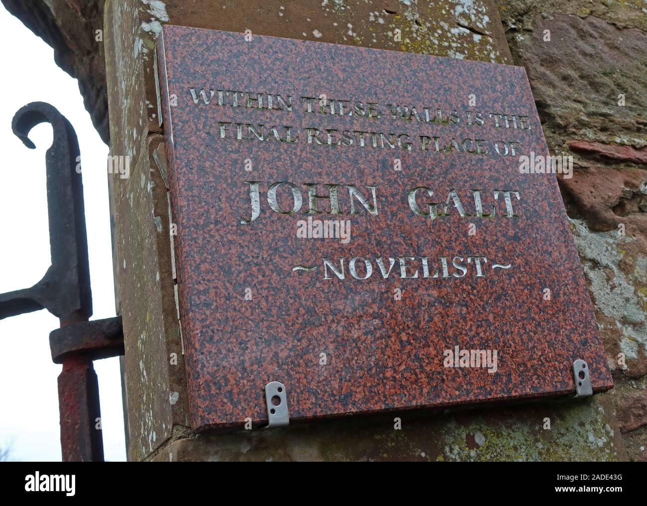 Dieses Stockfoto: John galt, Romancier, Greenock, Inverkip Street Cemetery, Greenock, Inverclyde, schottland, Großbritannien, Grab, letzte Ruhestätte Plakette - 2ADE43