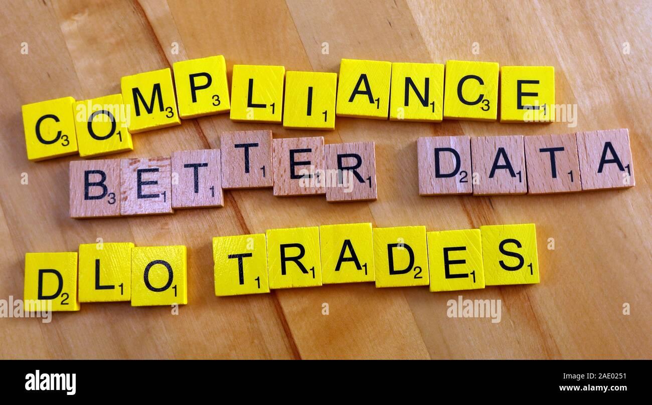 Dieses Stockfoto: Compliance,bessere Daten,DLO,Trades,Scrabble Letters - 2AE025