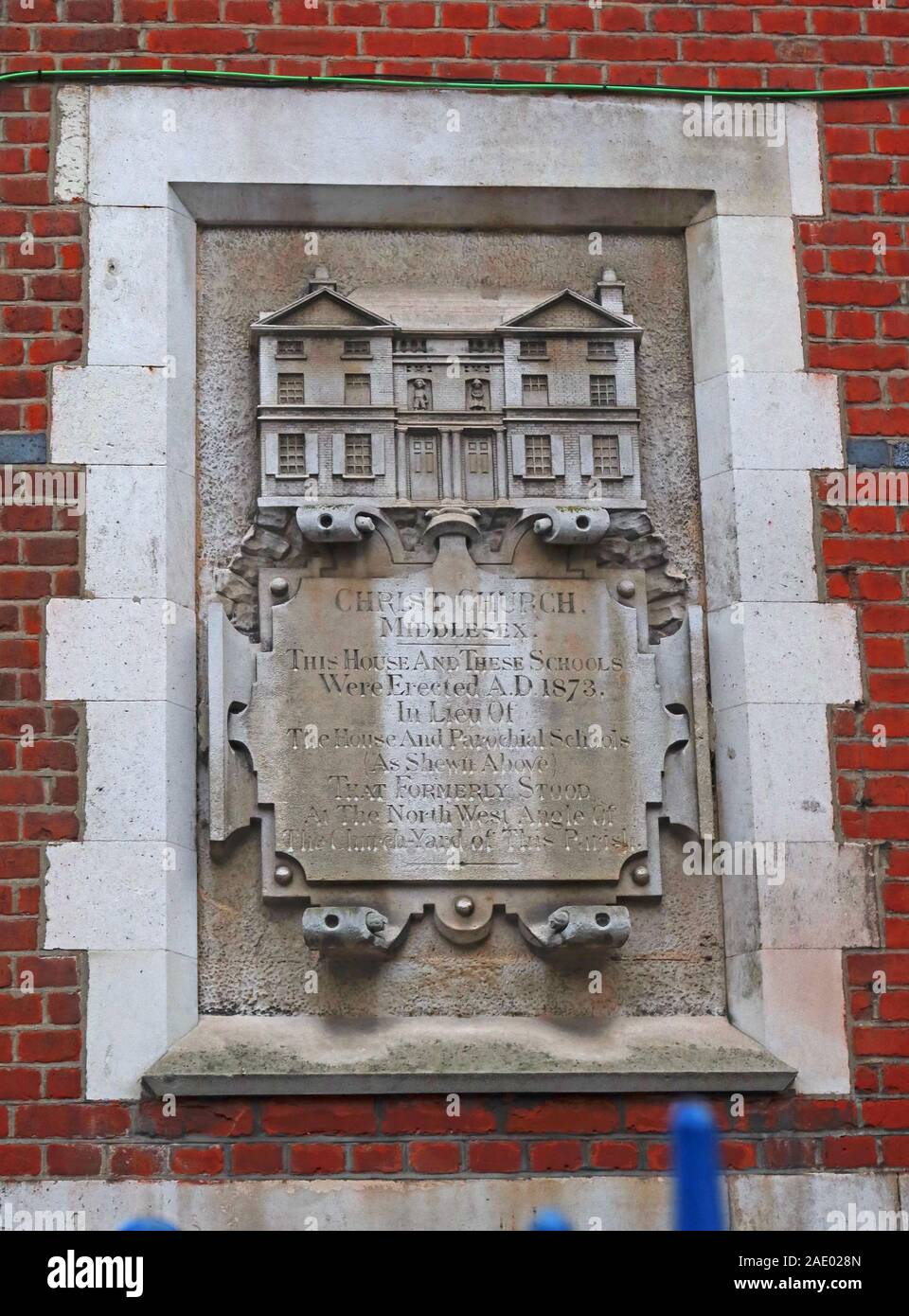Dieses Stockfoto: Christ Church AD1873, Middlesex Schule, Plakette, 47a Brick Lane, Shoreditch, East End, London, England, UK, E1 - 2AE028