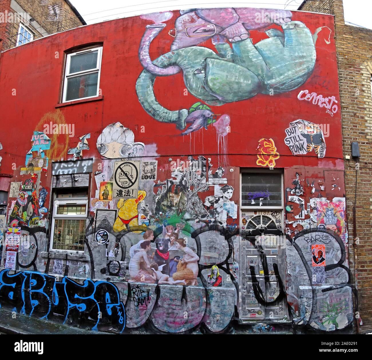 Dieses Stockfoto: Elefant, Abuse Tag, Brick Lane, Kunst und Graffiti, Shoreditch, Tower Hamlets, East End, London, Südosten, England, Großbritannien, E1 6QL - 2AE029
