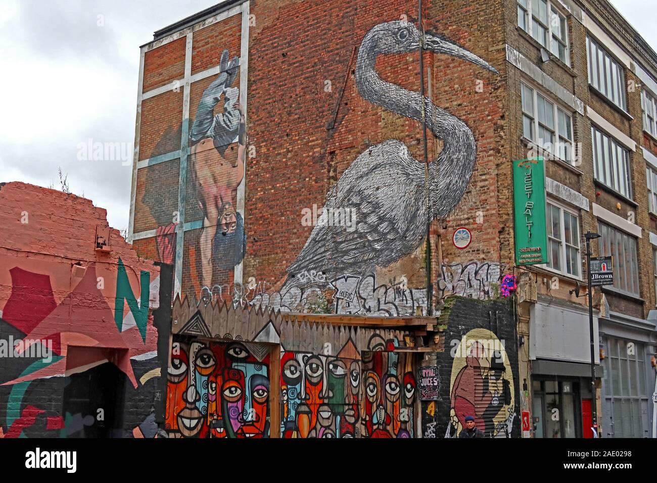 Dieses Stockfoto: Stork, Hanbury Street, Brick Lane, Kunst und Graffiti, Shoreditch, Tower Hamlets, East End, London, South East, England, Großbritannien, E1 6QL - 2AE029
