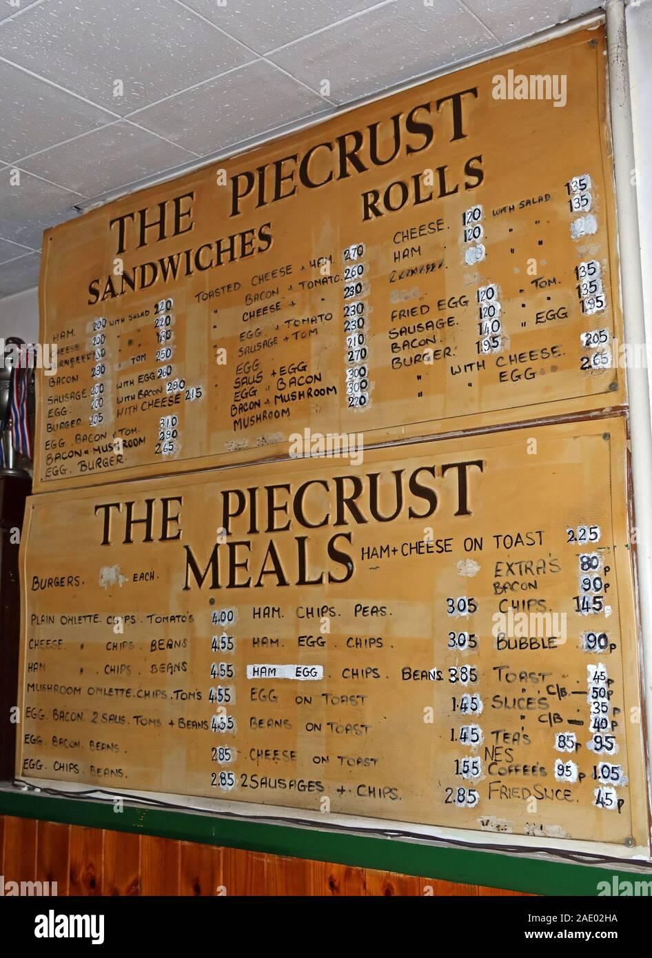 Dieses Stockfoto: The Piecrust, Thai Restaurant Menü, Sandwiches, Brötchen, 273 High St, Stratford, London, E15 - 2AE02H
