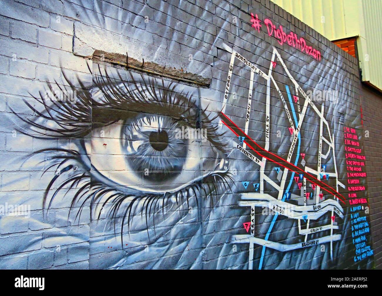 Dieses Stockfoto: Digbeth Dozen, Deep Eye, Graffiti Urban Street Art, in Floodgate St, Digbeth, Bordesley & Highgate, Birmingham, West Midlands, England, Großbritannien, B5 5ST - 2AERPJ