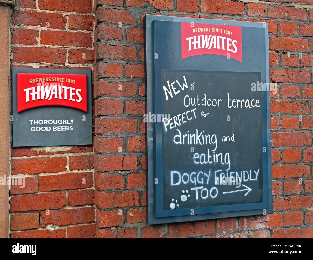 Dieses Stockfoto: Thwaites, hundefreundliches Pub-Schild, The Red Lion, Stockton Heath, London Rd, Stockton Heath, Warrington, Cheshire, England, Großbritannien, WA4 6HN - 2AFFF9