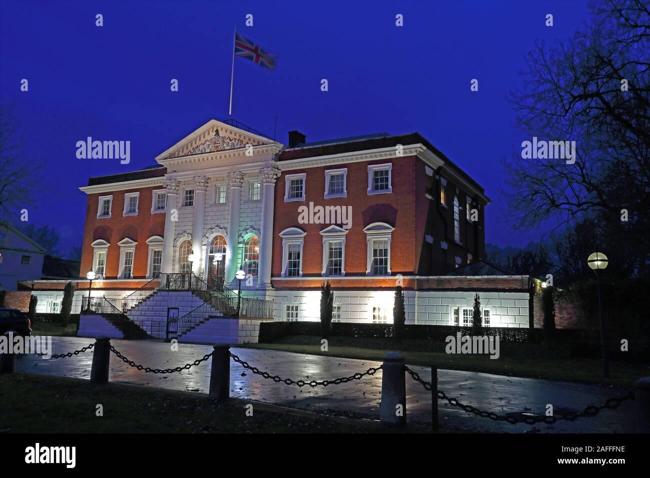 Dieses Stockfoto: Warrington Town Hall, WBC, Dämmerung, Sankey Street, Warrington, Cheshire, England, Großbritannien, WA1 - 2AFFFN