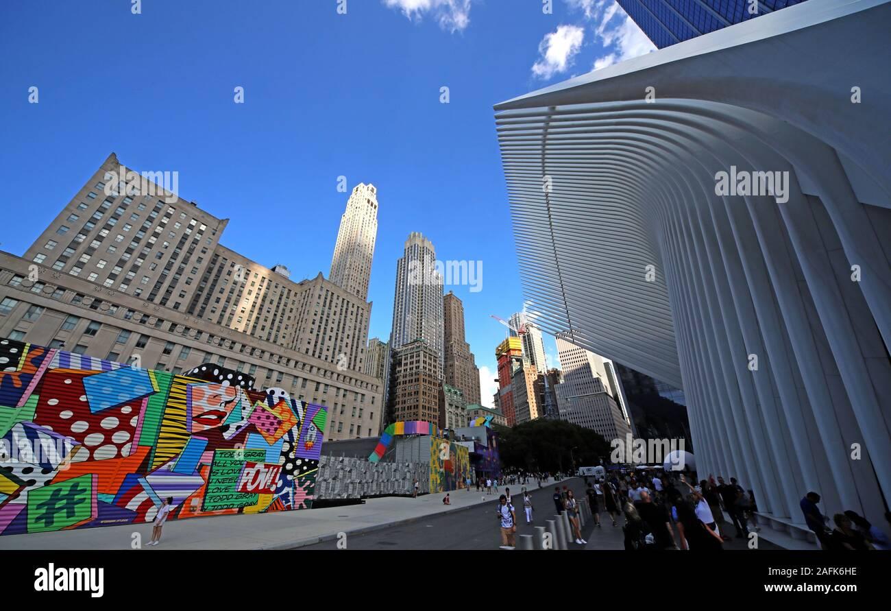 Dieses Stockfoto: WTC, World Trade Center Place, New York City, NYC, New York State, USA, mit Büroblöcken im Hintergrund - 2AFK6H