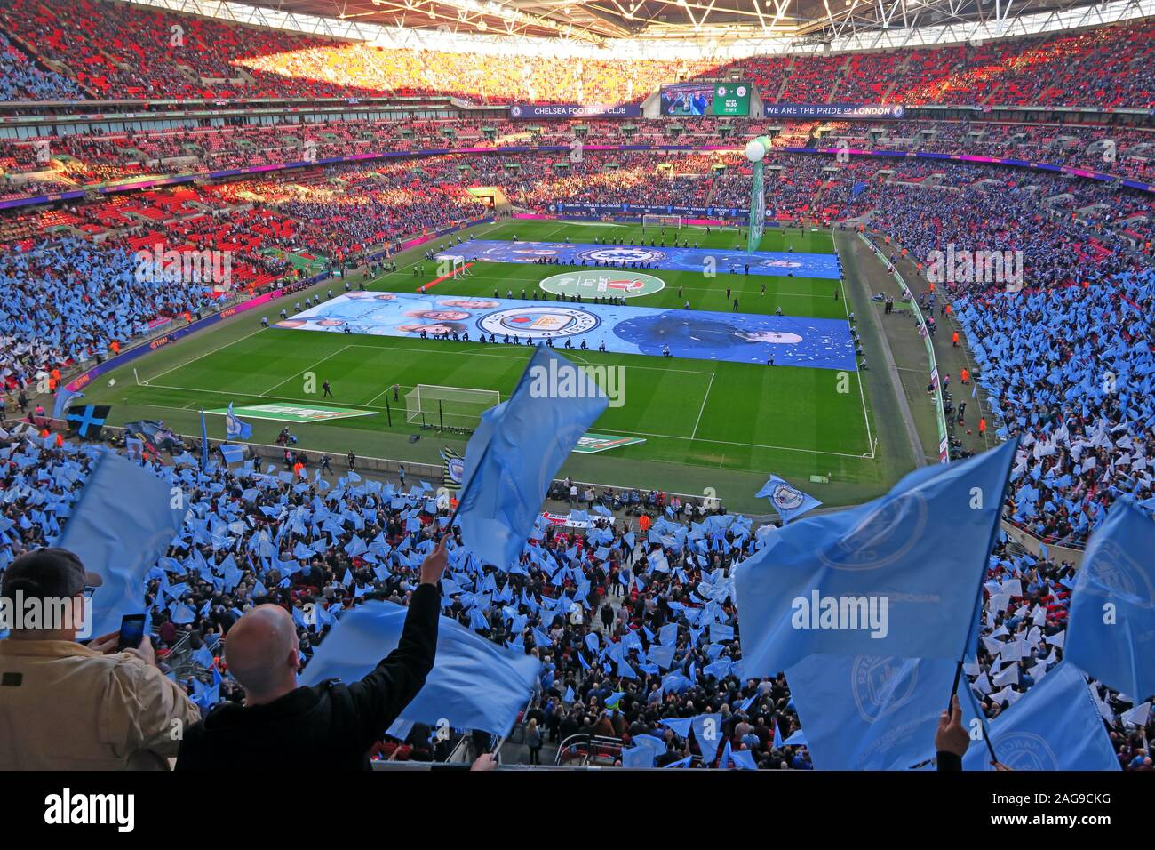 Dieses Stockfoto: MCFC, Manchester City, Manchester City Football Club vs Chelsea, Carabao Cup Finale 24/02/2019 Wembley Stadion, London, England, UK-Feb 2019 - 2AG9CK