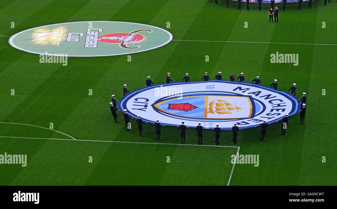 Dieses Stockfoto: MCFC, Manchester City, Manchester City Football Club vs Chelsea, Carabao Cup Finale 24/02/2019 Wembley Stadion, London, England, UK-Feb 2019 - 2AG9CW