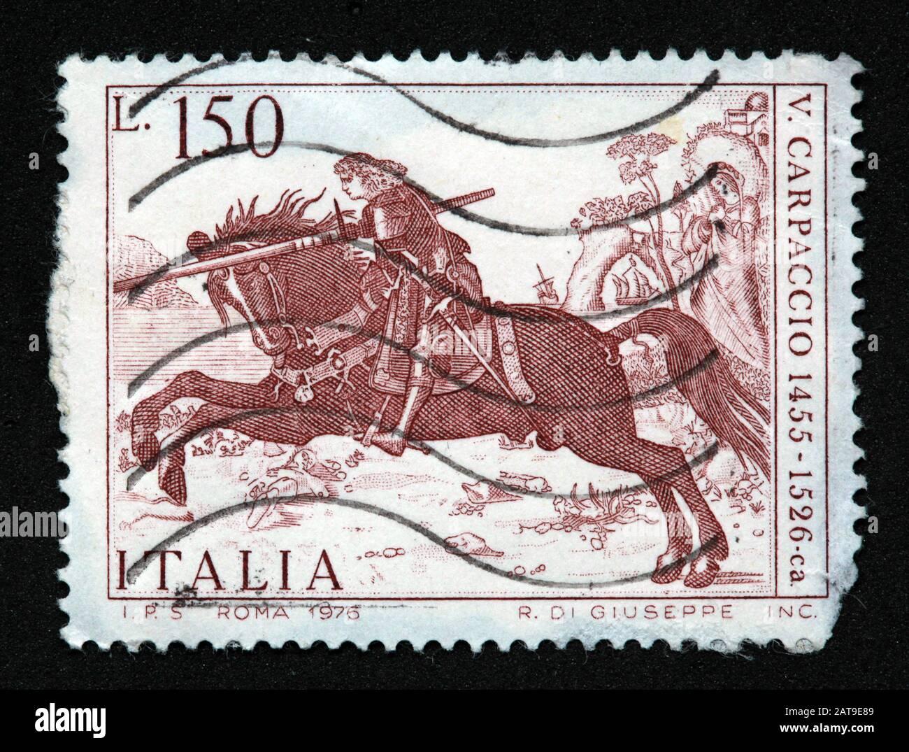 Dieses Stockfoto: Italienische Briefmarke, poste Italia verwendet und gestempelt, Roma, 1976 R.Di.Giuseppe Inc, 150Lire, 150L, V.Carpaccio, 1455-1526 Carpaccio - 2AT9E8