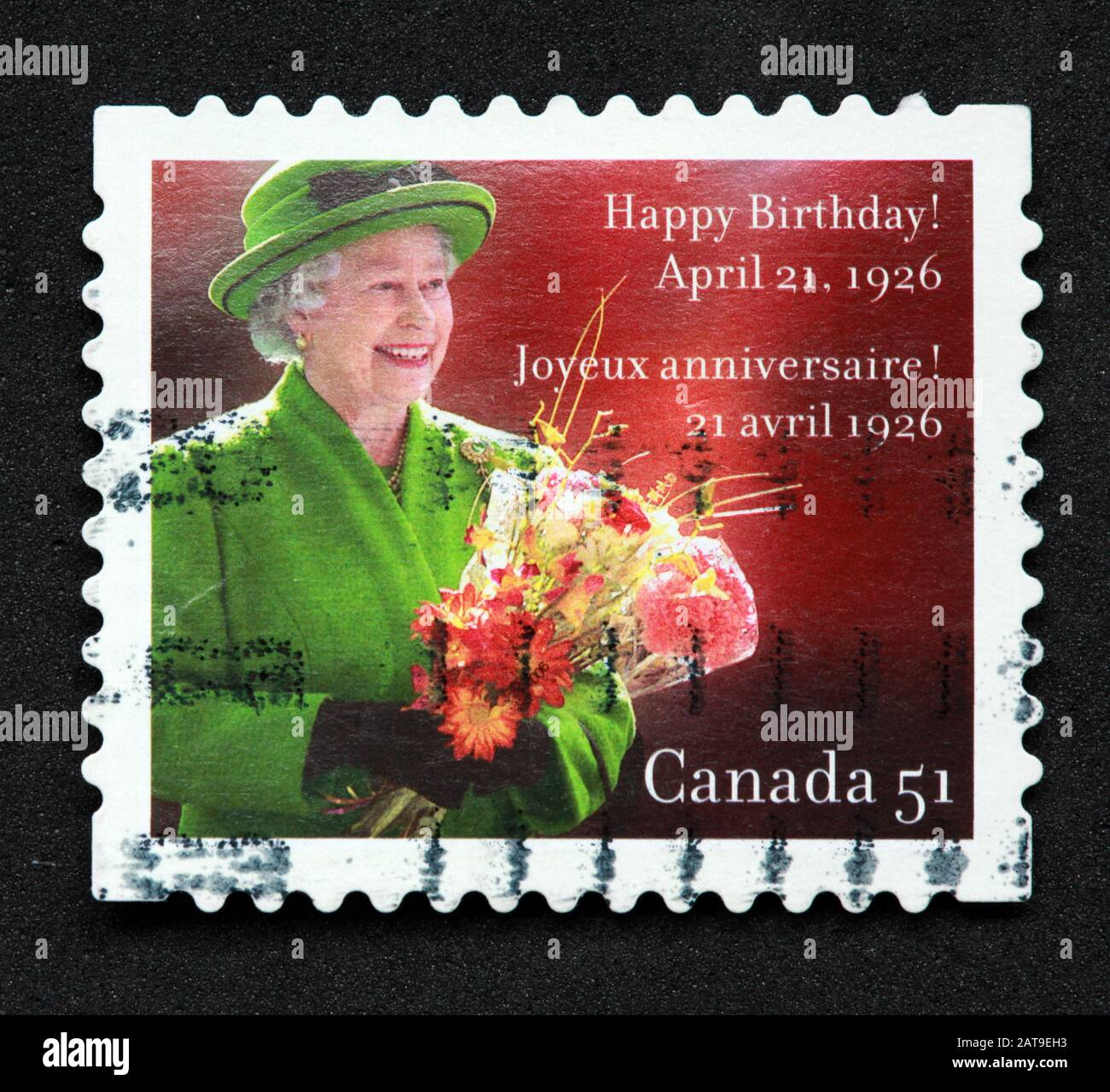 Dieses Stockfoto: Canadian Stamp, Canada Stamp, Canada Post, Useed Stamp, Canada 51, Happy Birthday Queen Elizabeth, 21. April 1926, Joyeux Anniversaire - 2AT9EH