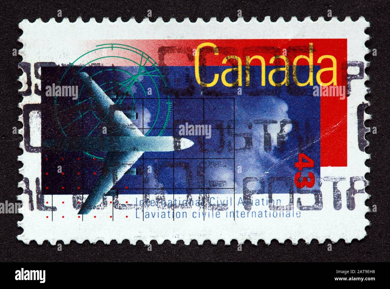 Dieses Stockfoto: Kanadische Stempel, Canada Stamp, Canada Post, gebrauchte Stempel, Kanada 43 zivile Luftfahrt internationales Flugzeug, Flugzeug postmarked - 2AT9EH