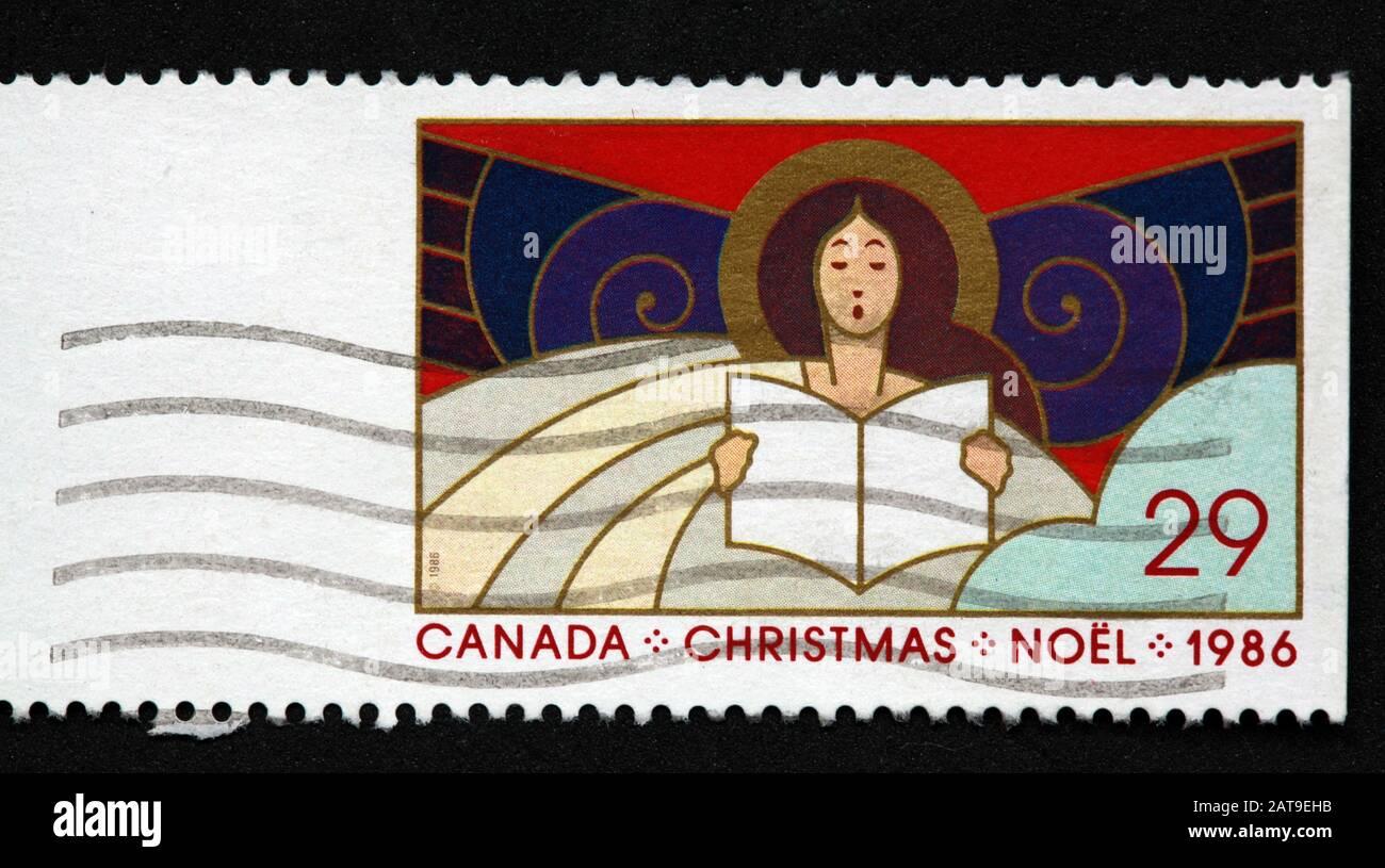 Dieses Stockfoto: Canadian Stamp, Canada Stamp, Canada Post, Use Stamp, Canada, Christmas, Noel, 1986, 29c, Carol Singer, Stamp - 2AT9EH