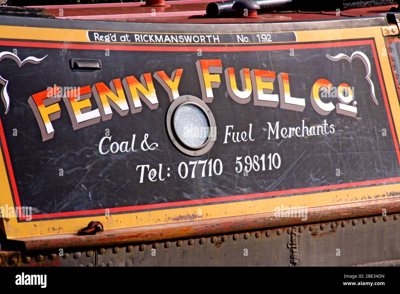 Dieses Stockfoto: British Canal & River Trust, funktionierende Kanalbargenboote, Northwich, Cheshire Ring - Fenny Fuel Co - Rickmansworth no 192 - 2BE34D
