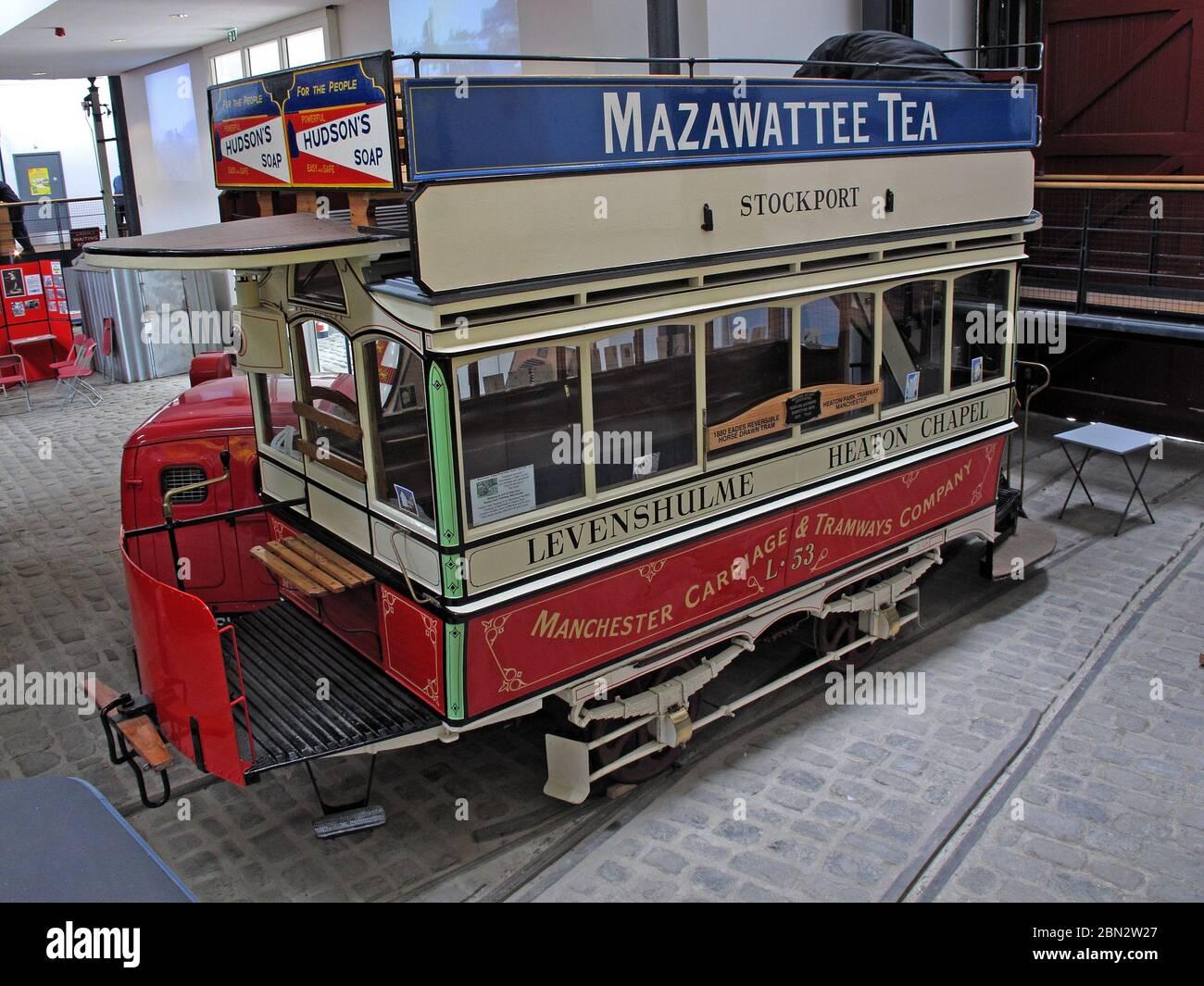 Dieses Stockfoto: Levenshulme Straßenbahn, Heaton Chapel, Stockport, 192,192 Bus, 192 Straßenbahn, Mazawattee Tee, Hudsons Seife, Manchester Carriage & Tramways Company - 2BN2W2