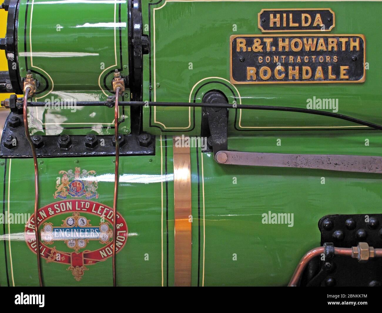 Dieses Stockfoto: Grüne Dampfmaschine, Hilda, RT Howarth, Vertragsfirmen, Rochdale, Thomas Green & Son, Leeds & London - 2BNKK7