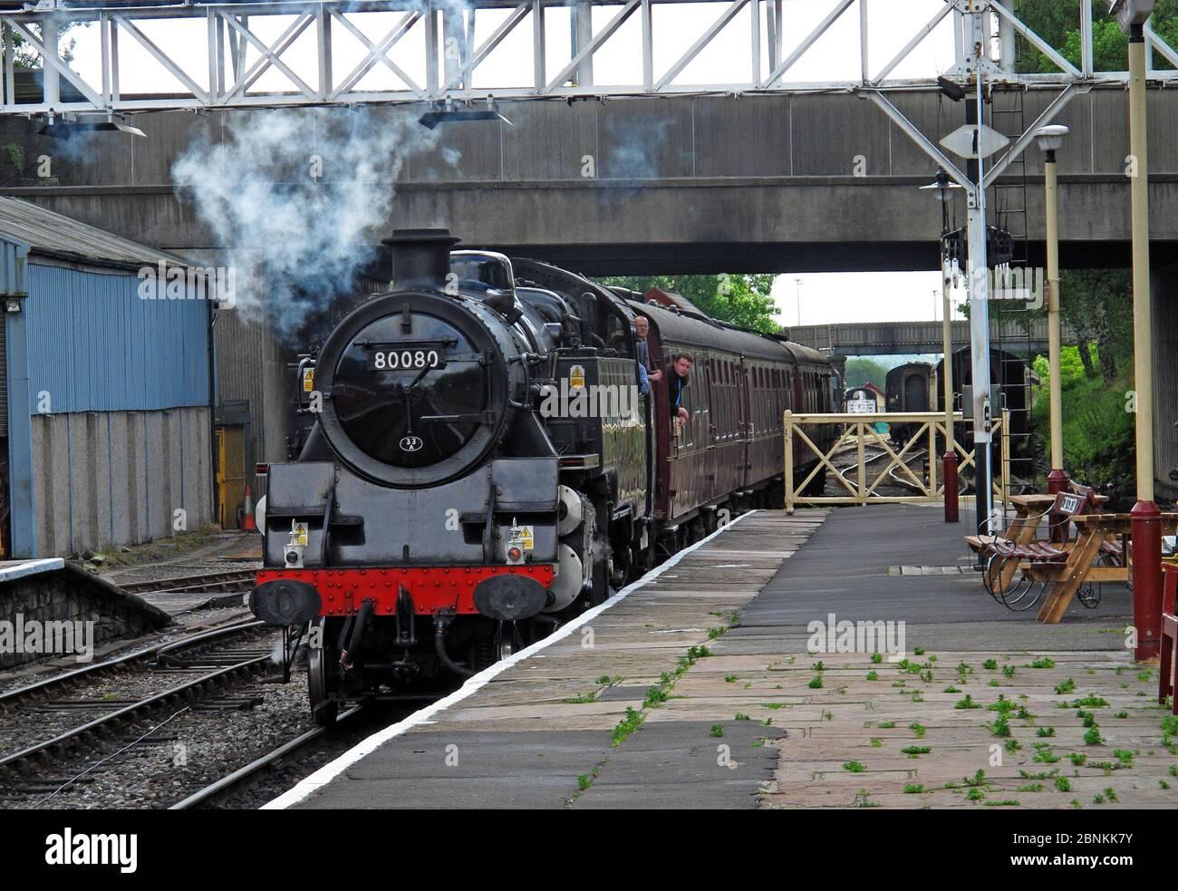 Dieses Stockfoto: Dampflokomotive 80080, bei Bury ELR, East Lancs Railway, erhaltene britische Dampflokomotive, Greater Manchester, England, Großbritannien - 2BNKK7
