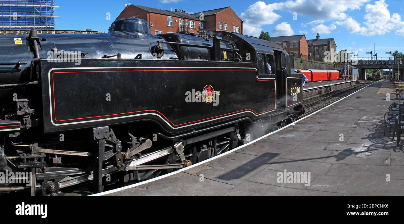 Dieses Stockfoto: ELR, East Lancs Railway, East Lancashire Railway Bury Station, Greater Manchester, England, UK - 80080 dampfende Plattform - 2BPCNK