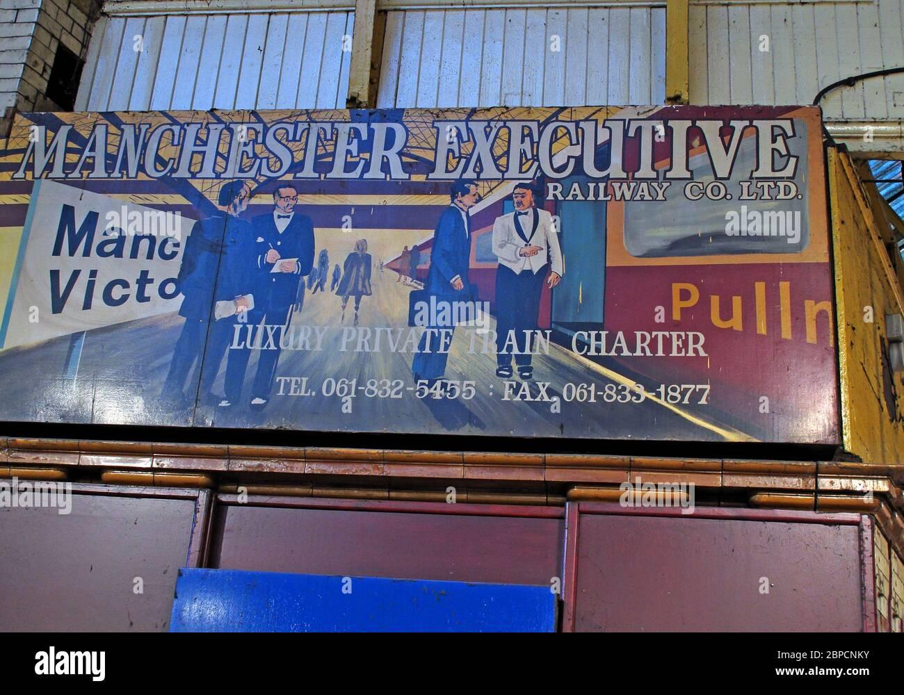 Dieses Stockfoto: Manchester Victoria, Manchester Executive, Pullman, Tours, Railway Co, Luxus-Zugcharter, Poster, Greater Manchester, England, Großbritannien - 2BPCNK