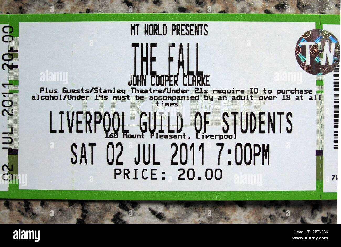 Dieses Stockfoto: The Fall, Gig Ticket, Liverpool Guild of Students, Sa 02 Jul 2011, John Cooper Clarke - 2BTY2A