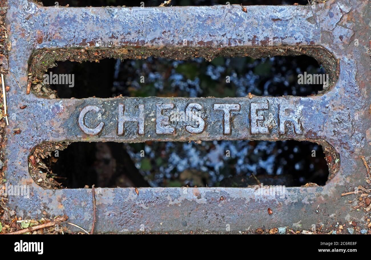 Dieses Stockfoto: Chester-Gusseisen-Gitter, Schachtabdeckung, Cheshire, England, Großbritannien - 2C6RE8