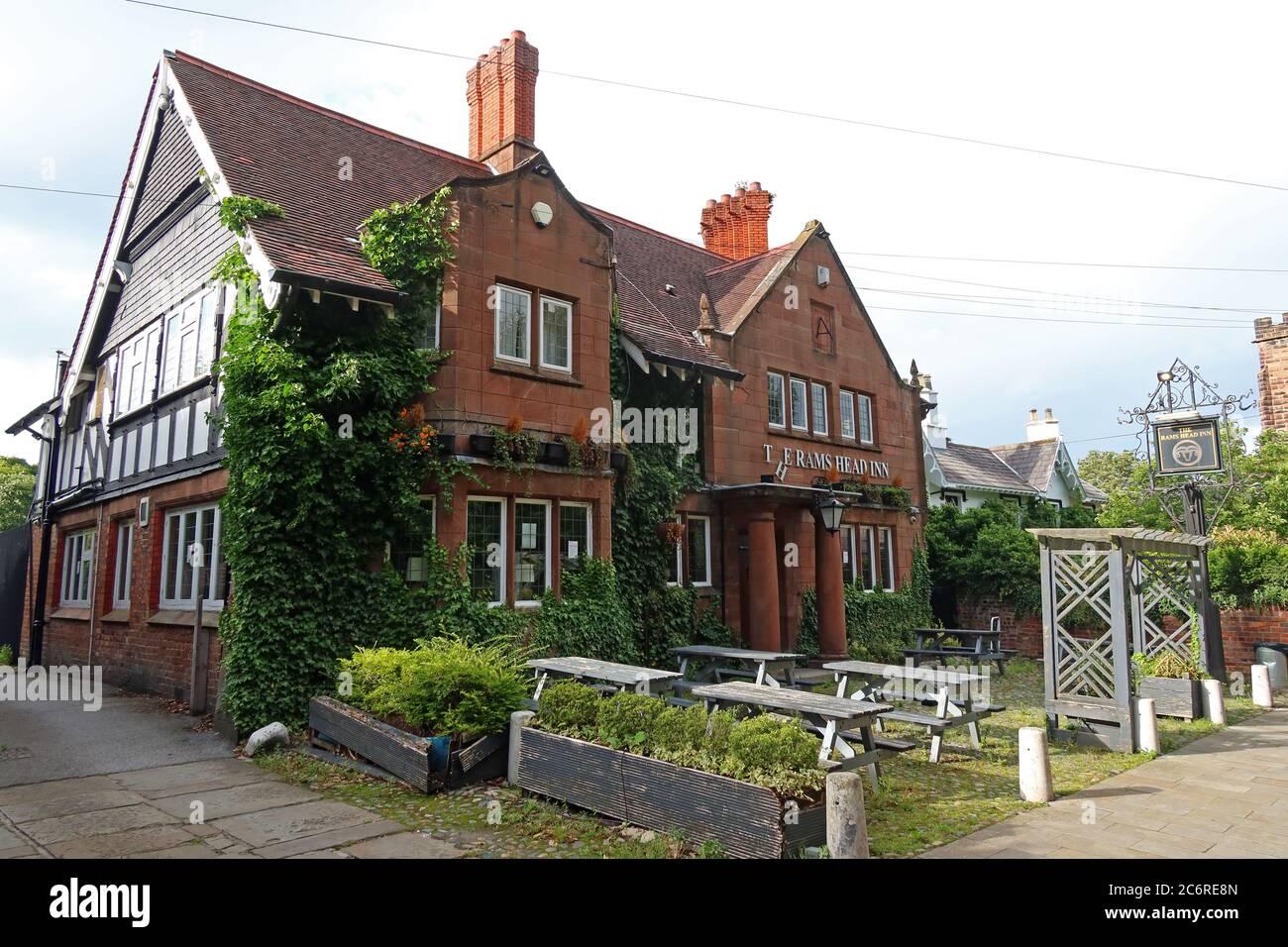 Dieses Stockfoto: Das Rams Head Inn, Church Lane, Grappenhall Village, Warrington, Cheshire, England, Großbritannien, WA4 3EP - 2C6RE8