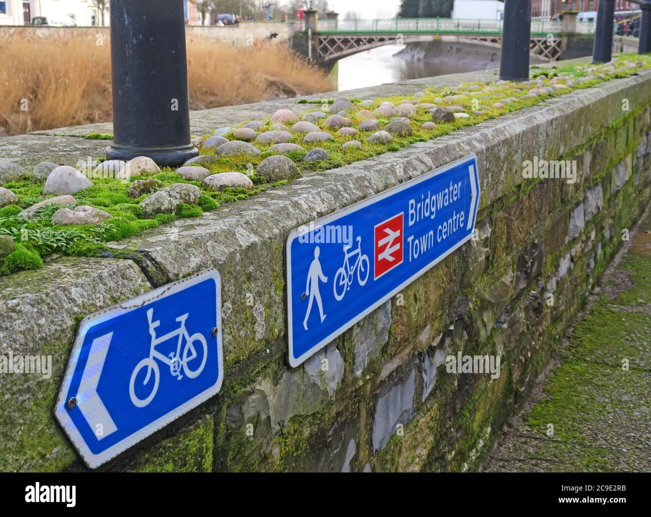 Dieses Stockfoto: Fahrradschilder, Bridgwater Town Centre, Bahnhof, Wanderweg, Bridgwater, Somerset, England, Großbritannien - 2C9E2R