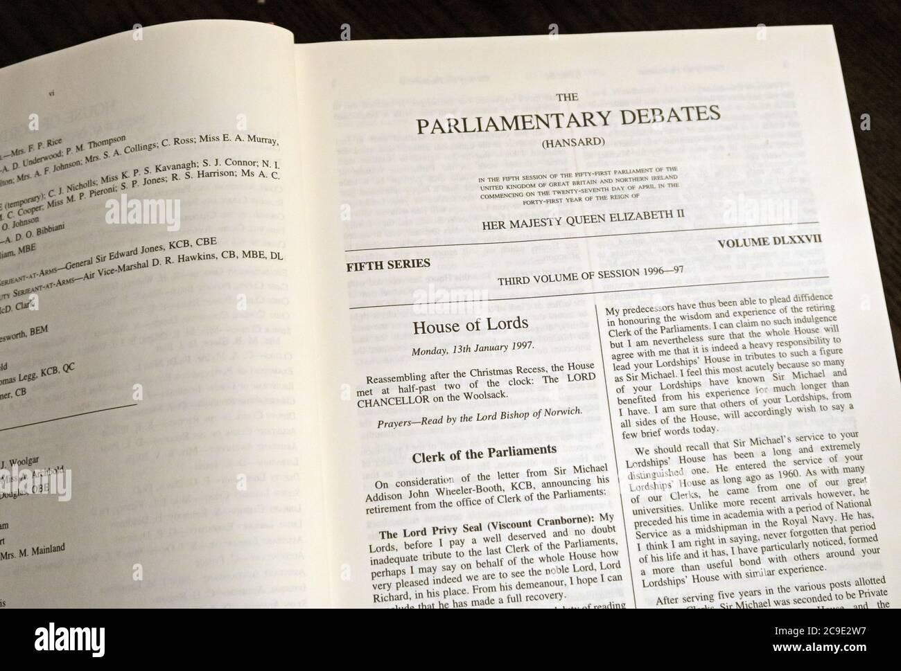 Dieses Stockfoto: Offizieller Bericht, Parlamentsdebatten, The House of Lords , Hansard , Vol 545, Westminster , London, England, Großbritannien, Bücher, Bände - 2C9E2W