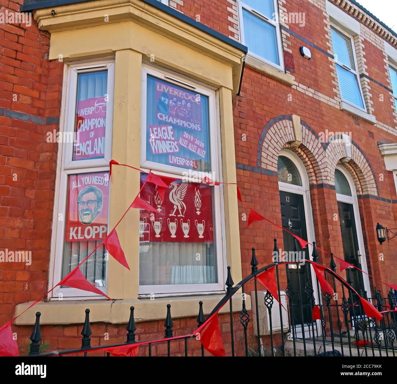 Dieses Stockfoto: Alles, was Sie brauchen, ist Klopp, Liverpool Champions, League Winners, Terraced House, Liverpool Fans, Anfield, L4, Merseyside, England, Großbritannien - 2CC79K