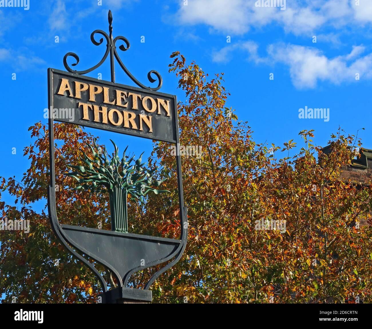Dieses Stockfoto: Appleton Thorn Village Schild, Lumb Brook Road, Grappenhall Lane, Appleton Thorn, Warrington, Cheshire, England, UK, WA4 4QX - 2D6CRT