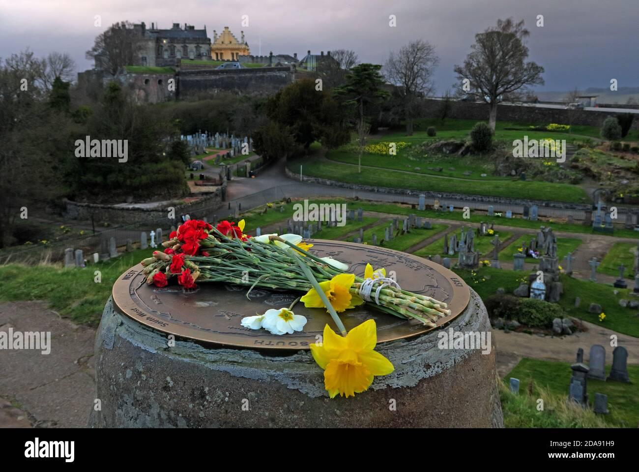 Dieses Stockfoto: Blick auf Stirling Castle, vom Aussichtspunkt Indikator, mit Blumen, Narzissen, Schottland, Großbritannien - 2DA91H