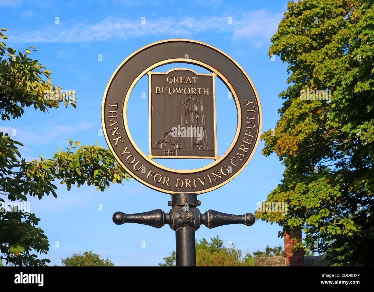 Dieses Stockfoto: Tolles Budworth, vielen Dank für die sorgfältige Fahrt, Schild, Northwich, Cheshire, England, Großbritannien, CW9 - 2DD8HX