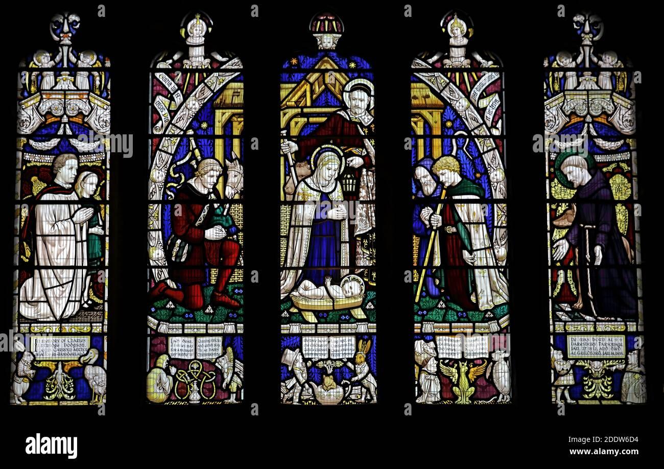 Dieses Stockfoto: Lewis Carroll Fenster, alle Heiligen, Daresbury Village, Warrington, Cheshire, - 2DDW6D
