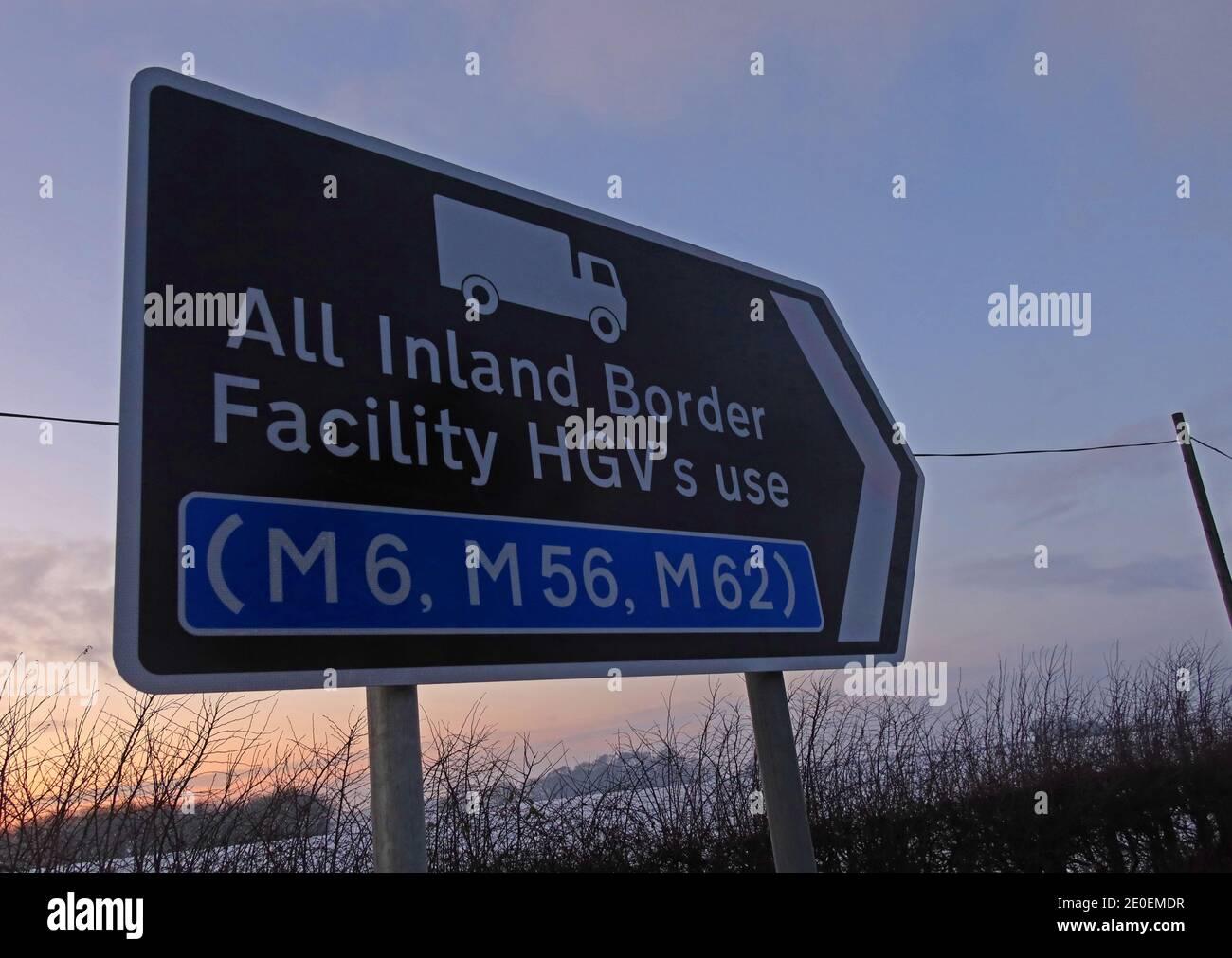 Dieses Stockfoto: Schild für Warrington Binnengrenzanlage, Barley Castle Lane, Appleton Thorn, Warrington, WA4 4SR - 2E0EMD