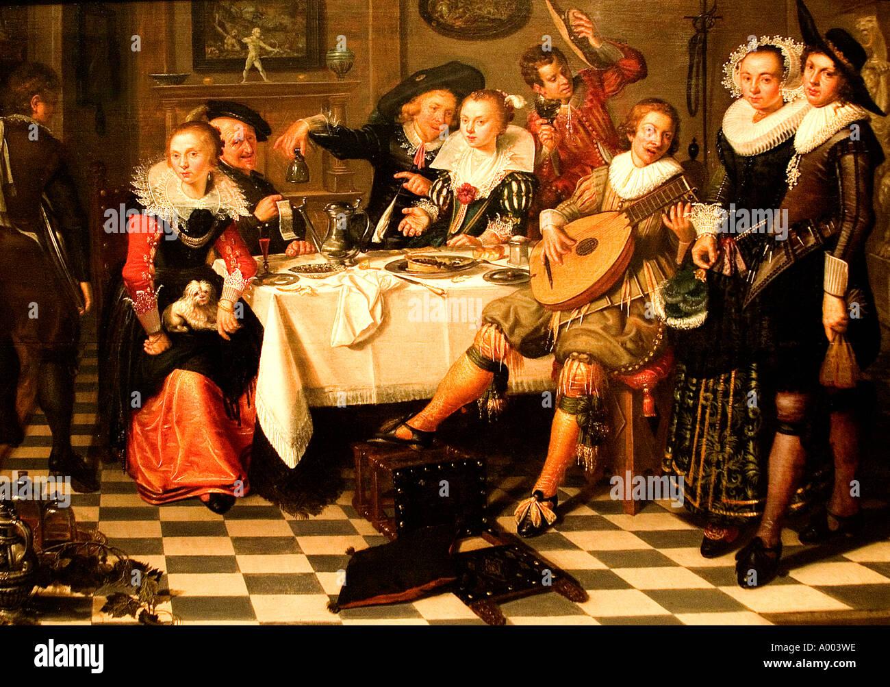 Isaac Elias A Party Essen trinken 1620 Niederlande Niederlande Holland Stockbild